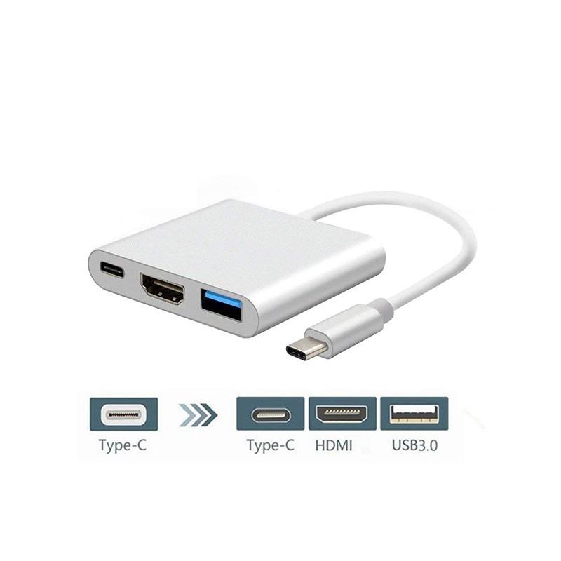 TYPE C به HDMI با یو اس بی و پاور