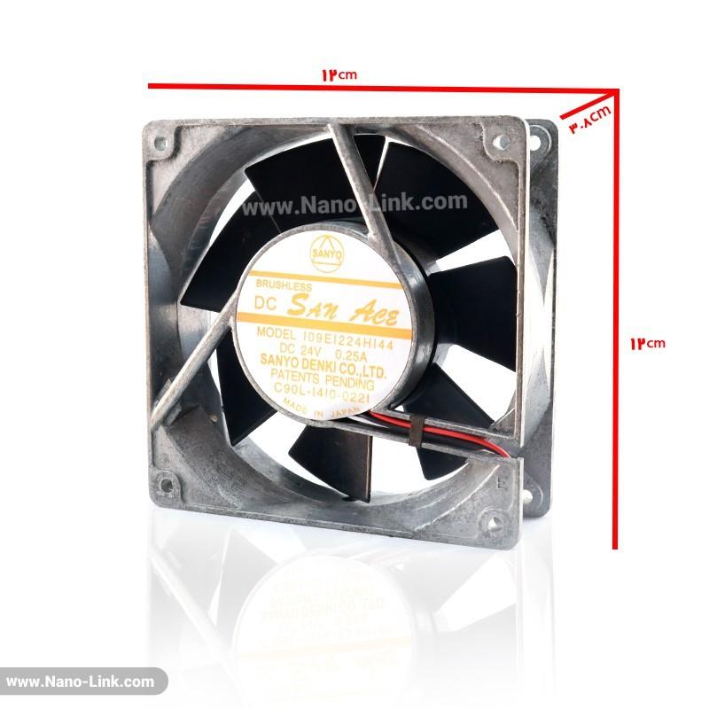 فن 24 ولت 0.25 آمپر بلبرینگی سایز 3.8*12*12