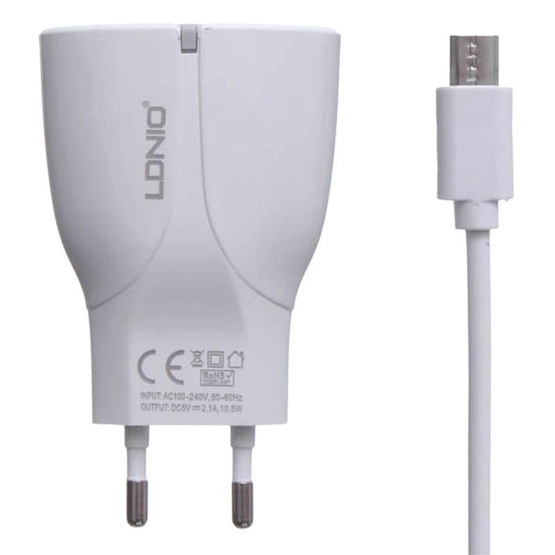 شارژر USB دیواری 2 پورت با کابل میکرو برند LDNIO مدل A2271
